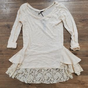 POOF! Lace Back Peplum Top